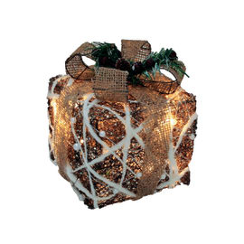 Set 3 pacchi regalo luminosi in rattan 60 Led bianca fredda