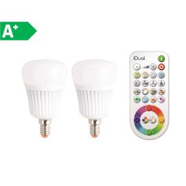 2 lampadine LED iDual E14 =40W oliva multicolore (RGB) 120°