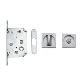 Maniglia per porta scorrevole quadra con nottolino e serratura