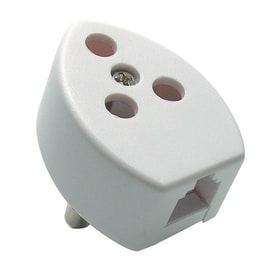 Spina e presa telefonica con presa plug bianco