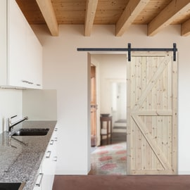 Porta da interno scorrevole Loft grezzo 86 x H 213 cm reversibile