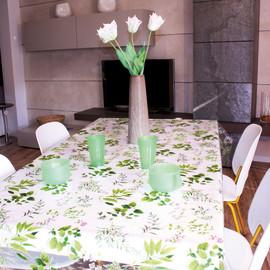 Tovaglia plastificata Cristallo erbolarium verde 220 x 140 cm