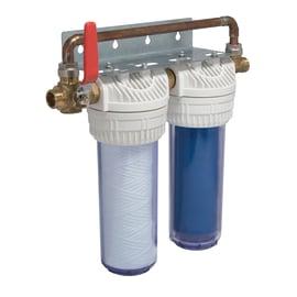 """Filtro per trattamento acque composto da 2 cartucce da 10"""""""