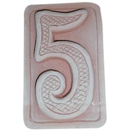 Numero civico cinque 5 x 9 x 1,5 cm cotto