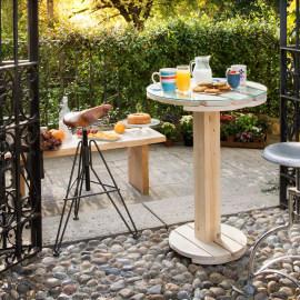Tavolino Tablo' legno e vetro Ø 60 x H 85 cm grezzo