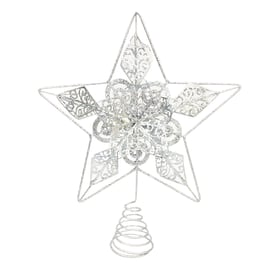 Puntale stella 5 punte argento 30 x 30 cm