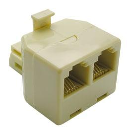 Adattatore spina con due prese plug RJ11 beige