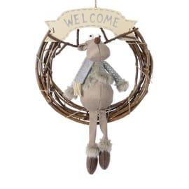 Fuoriporta welcome con renna grigio, ø 42 cm