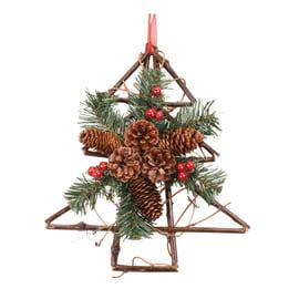 Fuoriporta albero di natale con rametti e bacche