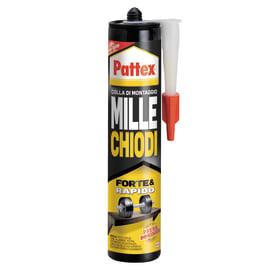 Colla di montaggio e fissaggio effetto chiodo Millechiodi Forte&Rapido Pattex bianco 400 g