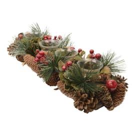 Portacandela pigne, bacche e aghi di pino, 47 cm