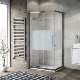 Box doccia scorrevole Record 67-69 x 87-89, H 195 cm vetro temperato 6 mm trasparente/silver lucido