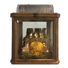Decorazione lanterna con paesaggio presepe completo di personaggi e luci a batteria (nc)