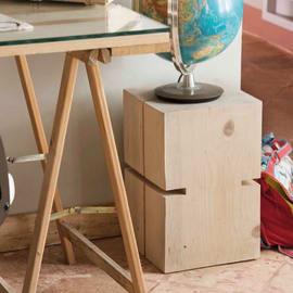 Tronco con fresature legno L 30 - 35 x P 30 x H 45 cm grezzo