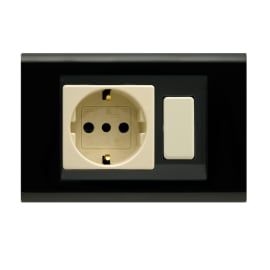 Placca 2 moduli FEB Laser nero