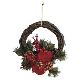 Fuoriporta decorazioni: pigne, bacche rosse