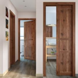 Porta da interno battente Old Town noce sbiancato 80 x H 210 cm reversibile
