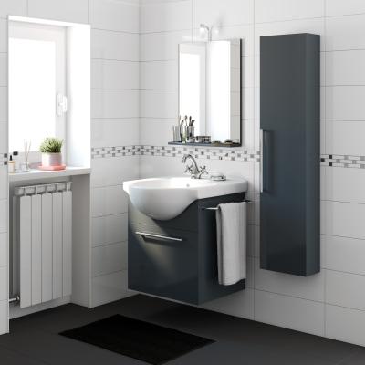 Mobile bagno ginevra grigio grafite l 58 cm prezzi e - Bagno grigio scuro ...