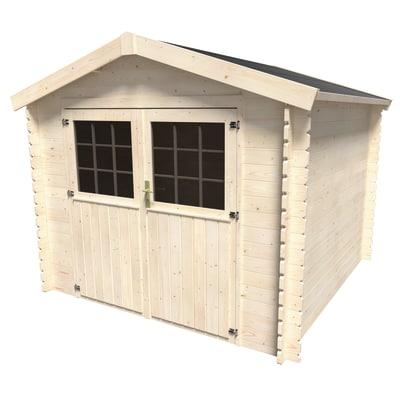 Casetta in legno grezzo primula 5 9 m spessore 28 mm for Casette da giardino leroy merlin
