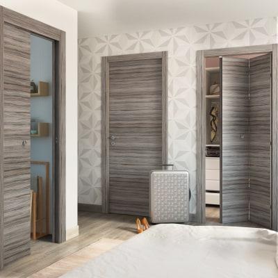 Porta da interno battente cover palissandro grigio 80 x h 210 cm reversibile prezzi e offerte - Porte interno leroy merlin ...