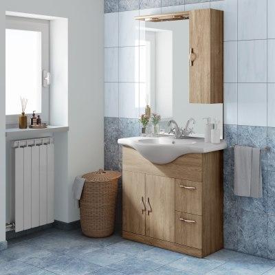 Mobile bagno blanca rovere l 85 cm prezzi e offerte online for Color tabacco mobili