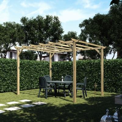 Pergola apple in legno marrone l 400 x p 300 x h 248 cm for Leroy merlin gazebo giardino