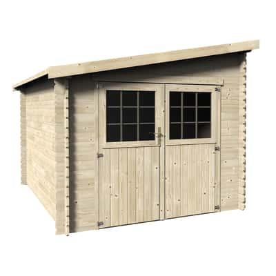 casetta in legno grezzo Monopente 7,29 m², spessore 28 mm