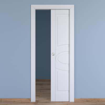 Porta da interno scorrevole Street bianco 60 x H 210 cm reversibile