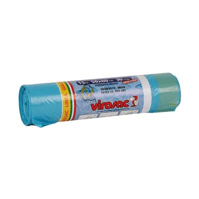 Sacco rifiuti Saccopratico 60 x 50 cm azzurro 15 pezzi