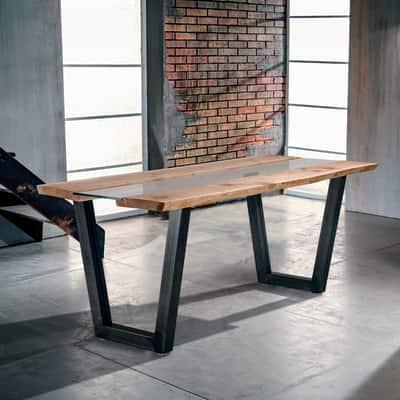 Tavolo Vertigo Legno E Vetro L 160 X P 85 X H 80 Cm Grezzo Prezzi E