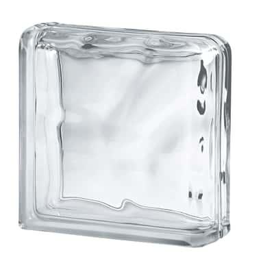 Terminale vetromattone Curvo bianco ondulato 19 x 19 x 8 cm