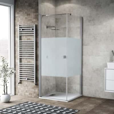 Doccia con porta battente e lato fisso Neo 73 - 75 x 77 - 79 cm, H 200 cm vetro temperato 6 mm serigrafato/bianco opaco