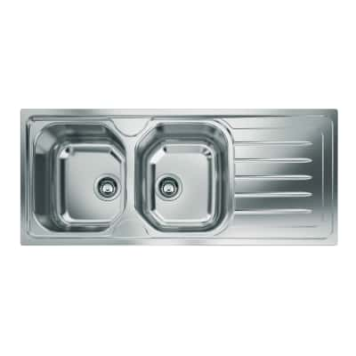Lavello incasso Onda Line L 116 x P  50 cm 2 vasche SX + gocciolatoio