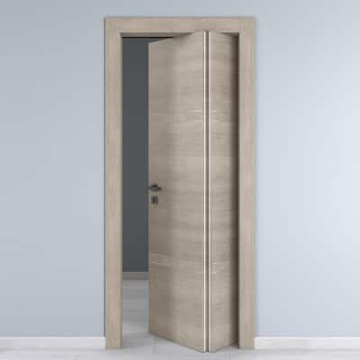 Porta da interno pieghevole asimmetrica Chasing rovere chiaro 70 x H 210 cm dx