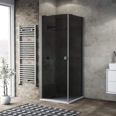 Doccia con porta battente e lato fisso Neo 99 - 101 x 77 - 79 cm, H 200 cm vetro temperato 6 mm fumè/silver