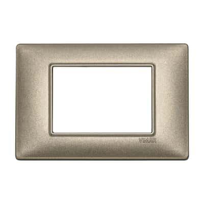 Placca 3 moduli Vimar Plana bronzo metallizzato