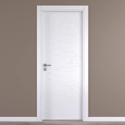 Porta da interno battente Flower white bianco 70 x H 210 cm dx
