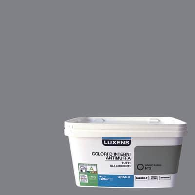 Idropittura lavabile Antimuffa Grigio Sasso 3 - 4 L Luxens