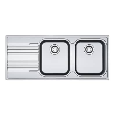 Lavello incasso Smart L 116 x P  50 cm 2 vasche DX + gocciolatoio