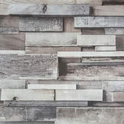 Carta da parati Placchette legno grigio 10 m