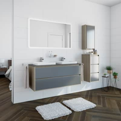 Mobile bagno Loto olmo rousseau, olmo rousseau con frontale in vetro L 120 cm