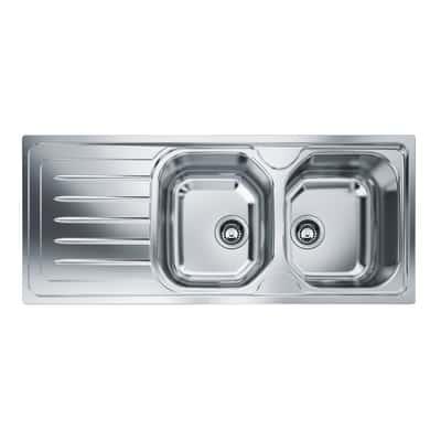 Lavello incasso Onda Line L 116 x P  50 cm 2 vasche DX + gocciolatoio