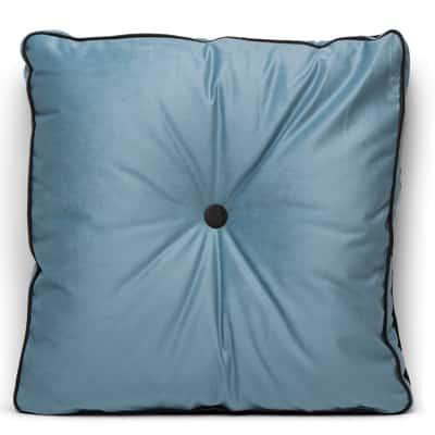 Cuscino grande Zoe azzurro Piping marrone 60 x 60 cm