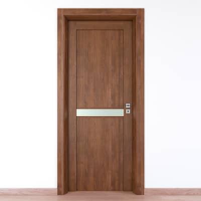 Porta da interno battente Spyhole nut larice noce 90 x H 210 cm sx