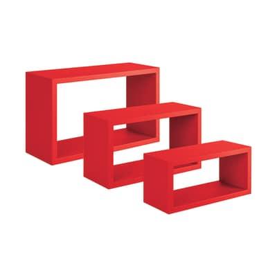 Set 3 rettangoli Spaceo rosso, sp 1,8 cm