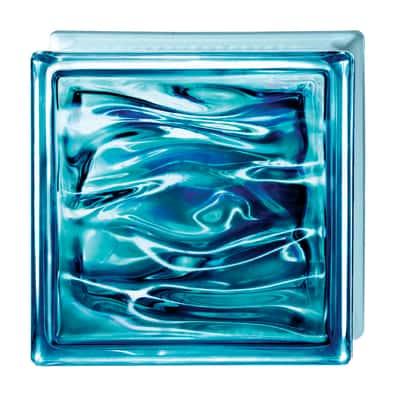 Vetromattone Blu Ultramar blu ondulato effetto acqua 19 x 19 x 8 cm