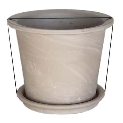 Set Calima Granit con sottovaso ø 28 cm bianco