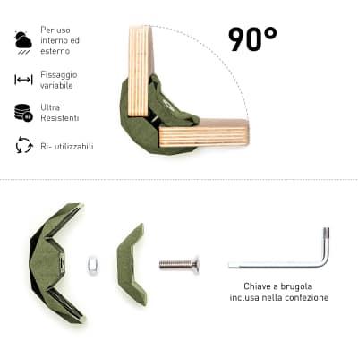 Connettore Playwood 90° per pannelli in legno in plastica hi-tech verdone confezione 4 pezzi