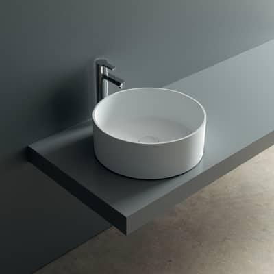 Lavabo da appoggio tondo Argo ø 37 x 13 cm bianco