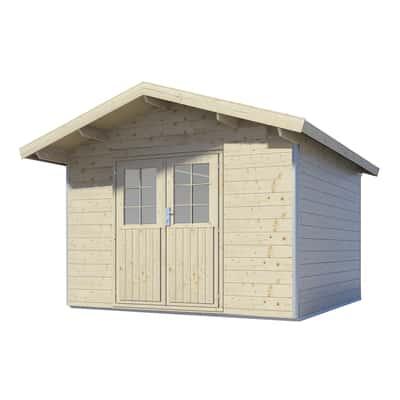 casetta in legno grezzo con profili in alluminio Runni 7,17 m², spessore 28 mm